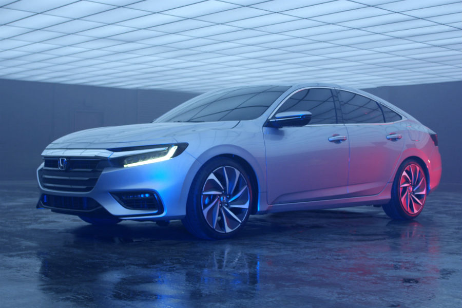 front three quarter view of 2019 honda insight prototype in underground garage