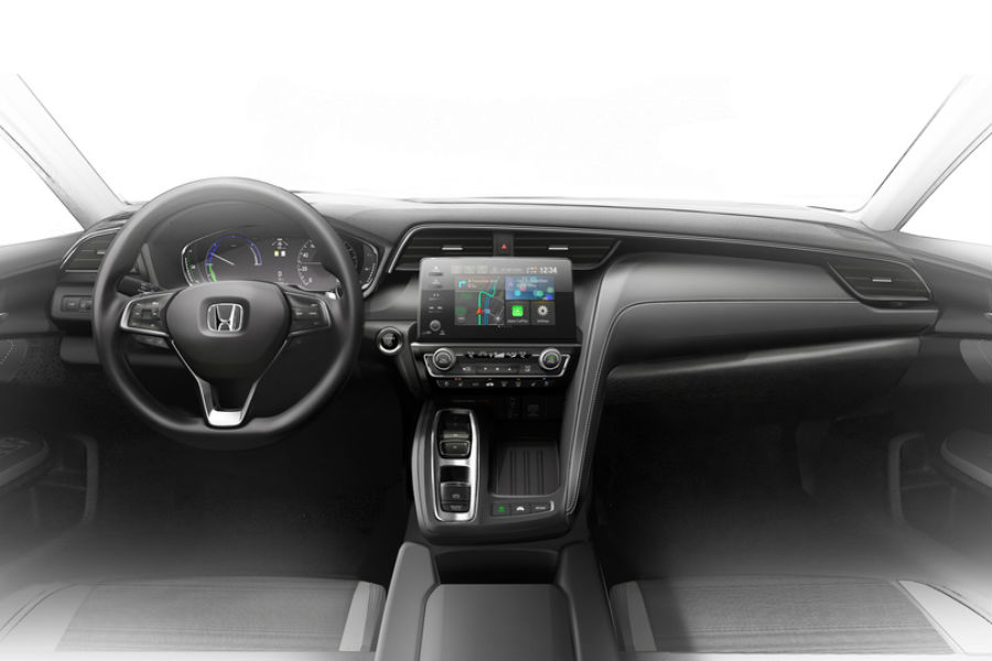 design draft of 2019 honda insight prototype interior showing infotainment system steering wheel and more