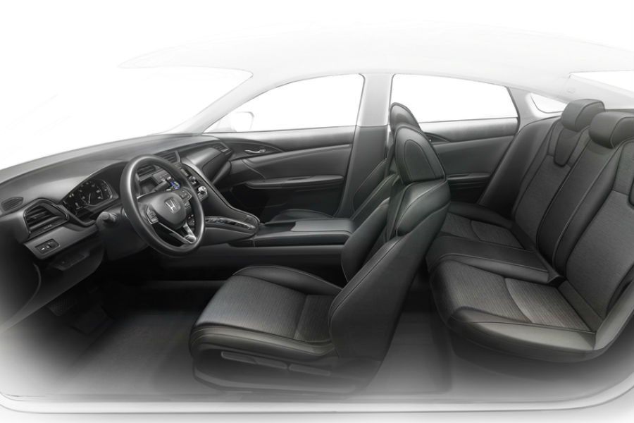 profile view of interior 2019 honda insight prototype from design studio with front and rear seat rows shown