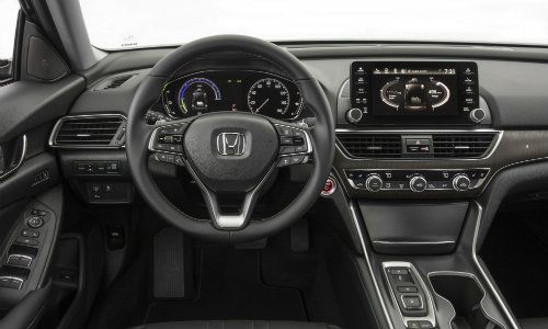 2018 Honda Accord Hybrid interior driver's seat view of steering wheel, dashboard, and transmission