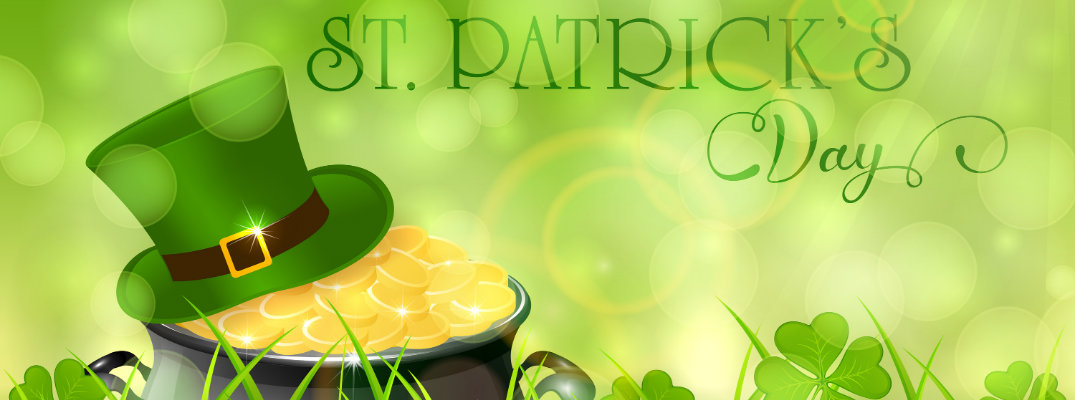 st. patrick's day banner with leprechaun buckle hat and a pot of gold