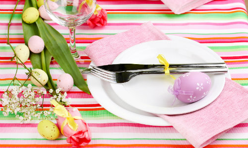Easter Table Top Setting With Bright Colors Fork Plate