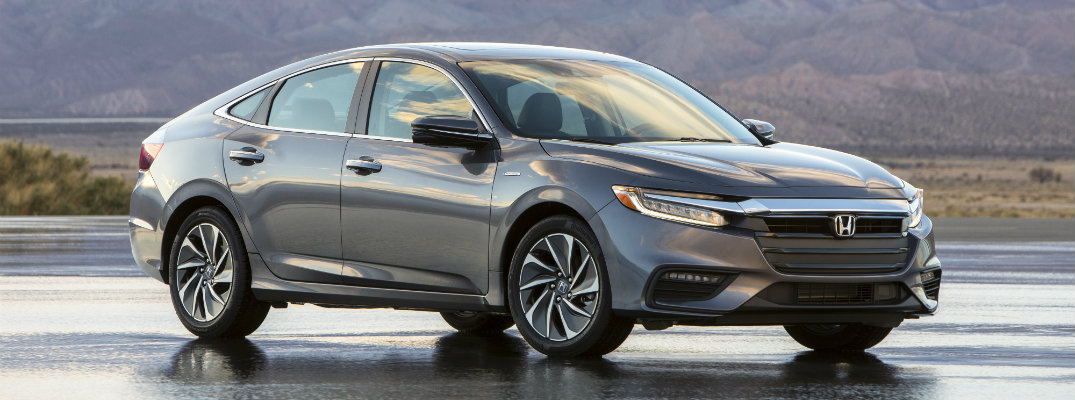 2019 Honda Insight sedan new york international auto show exterior shot parked on lot with mountain background