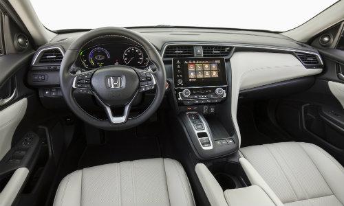 2019 Honda Insight sedan new york international auto show interior front seating upholstery, steering wheel, and dashboard