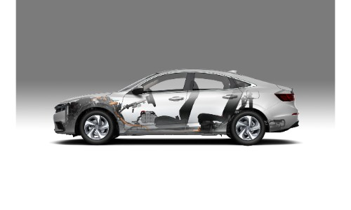 2019 Honda Insight exterior shot with translucent view to see interior engineering