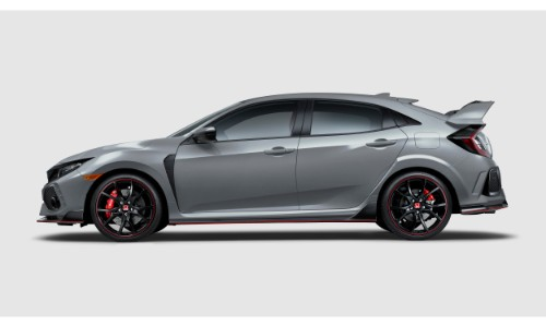 2019 Honda Civic Type R exterior side shot with gray paint color