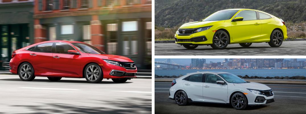2019 Honda Civic Sedan with 2019 Honda Civic Coupe and 2019 Honda Civic Hatchback profiles