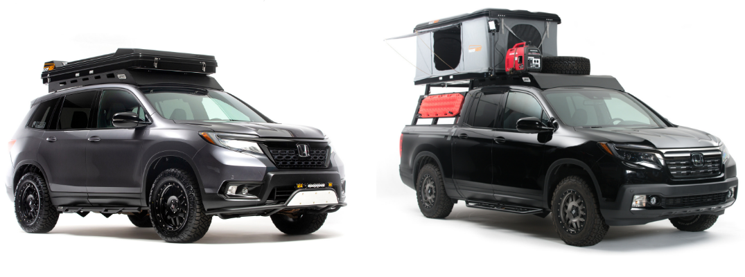2019 Honda Passport and 2019 Honda Ridgeline Adventure Lifestyle Projects with off-road capabilities and power equipment