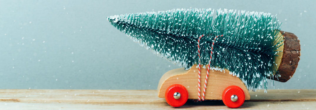 Toy car with Christmas tree on top
