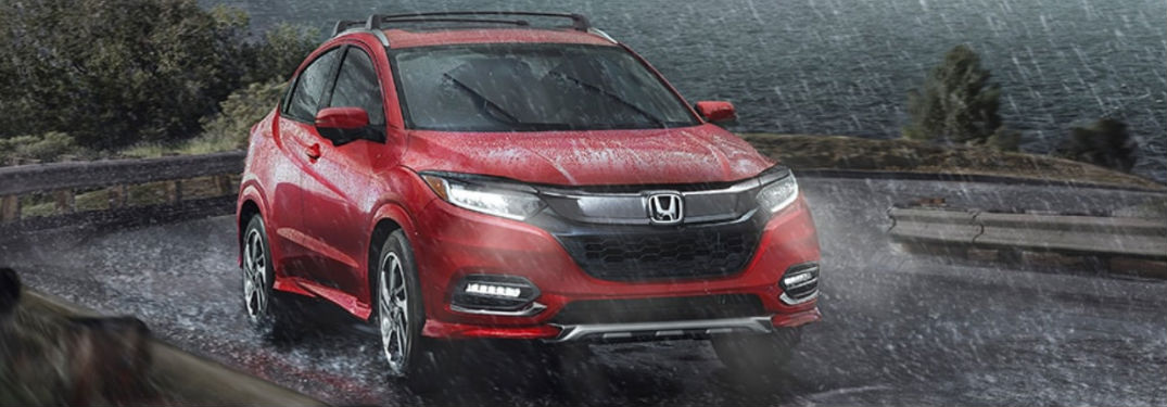 2020 Honda HR-V AWD Touring in red in the rain