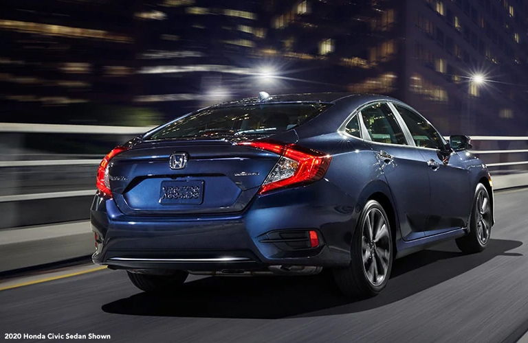 2020 Honda Civic sedan rear in blue