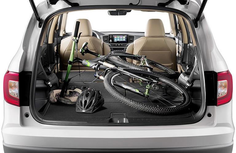 2020 Honda Pilot cargo area with bike inside