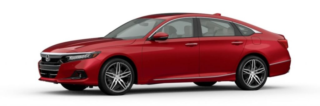 Radiant Red Metallic 2021 Honda Accord on White Background