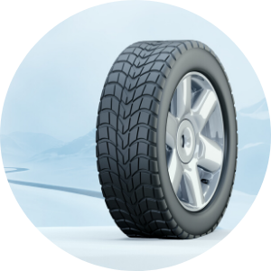 Graphic of a Tire in Snow