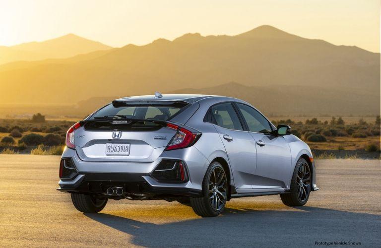 Silver 2020 Honda Civic Hatchback Rear Exterior at Sunset