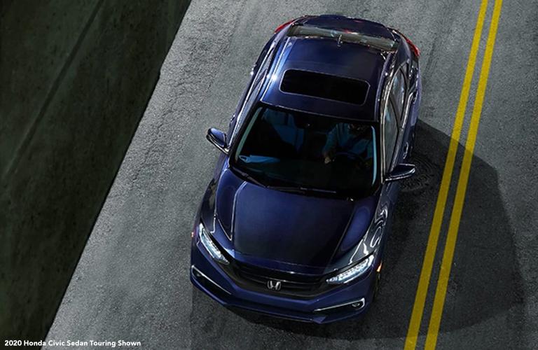 Overhead View of 2020 Honda Civic Sedan on a Road at Night
