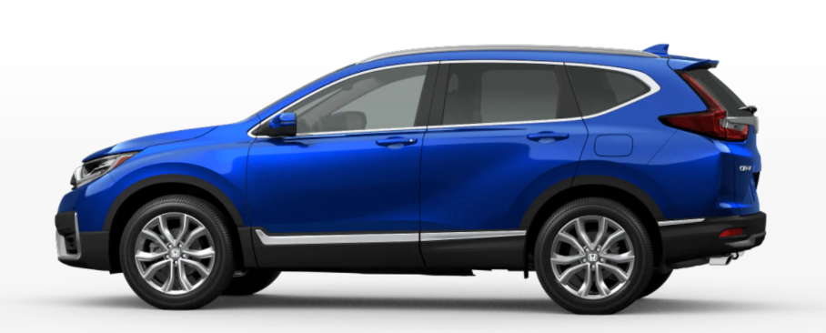 Aegean Blue Metallic 2021 Honda CR-V on White Background