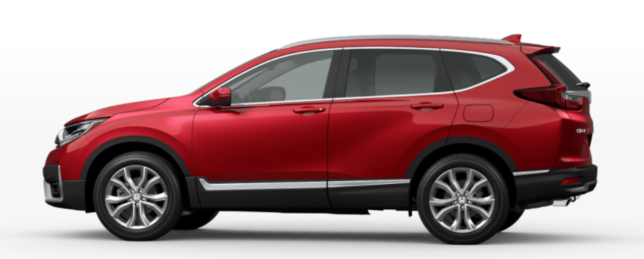 Radiant Red Metallic 2021 Honda CR-V on White Background
