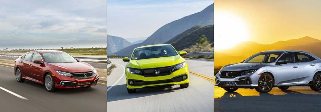 Red 2020 Honda Civic Sedan vs Yellow 2020 Honda Civic Coupe vs Silver 2020 Honda Civic Hatchback on the Road