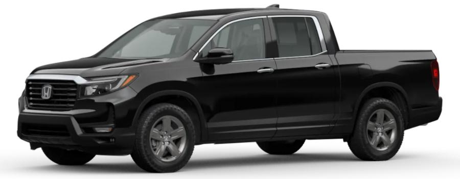 Crystal Black Pearl 2021 Honda Ridgeline on White Background