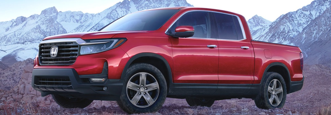 2021 Honda Ridgeline with mountains in the background