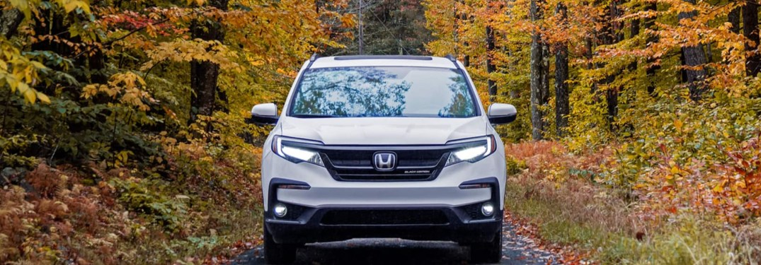 2021 Honda Pilot front end with fall leaves in the background