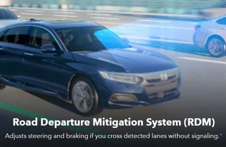 Image showing a graphical representation of Honda's Road Departure Mitigation System