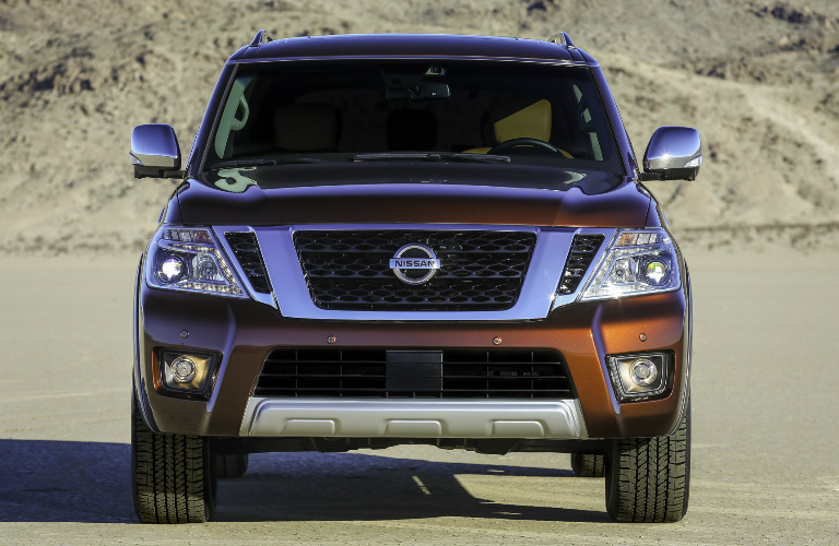 2017 Nissan Armada exterior front grille and headlights
