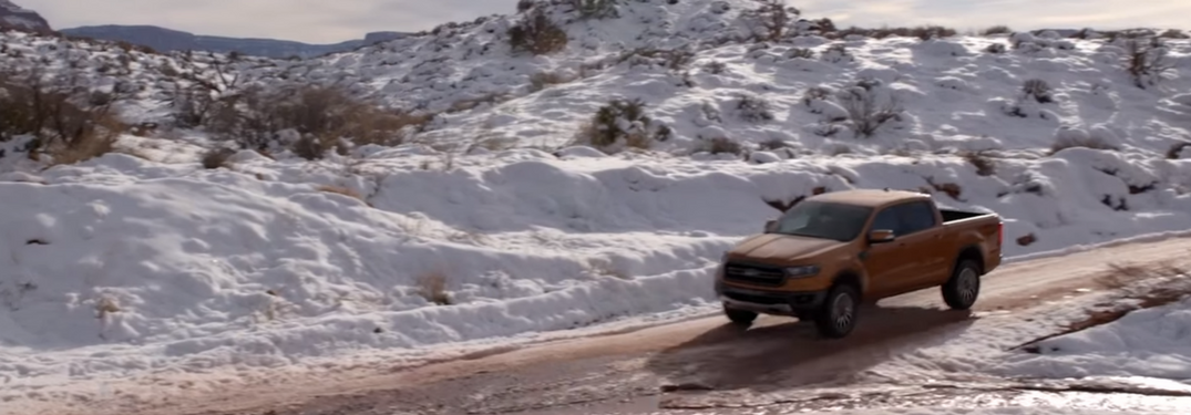 2019 Ford Ranger drives down hill in winter