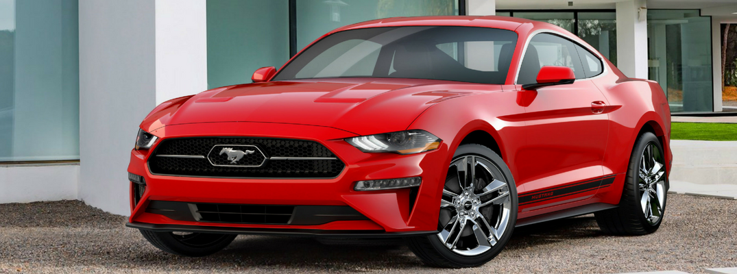 2018 Ford Mustang Front View of Red Exterior - New 2018 Ford Mustang Appearance Package Corrals Chrome Pony