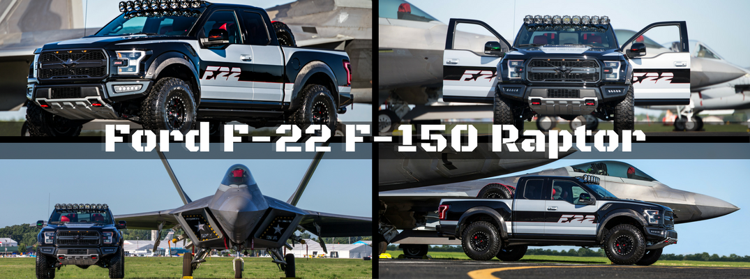 Collage of F-22 Ford F-150 pictures from EAA 2017