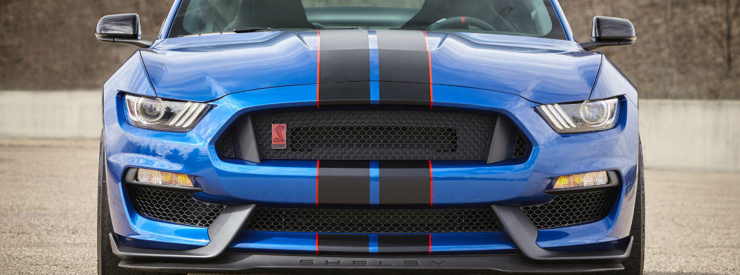 Blue Lightning Front Grille of Mustang GT350