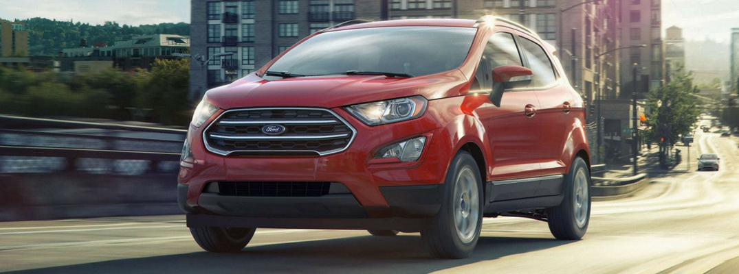 2018 Ford EcoSport in city with red exterior