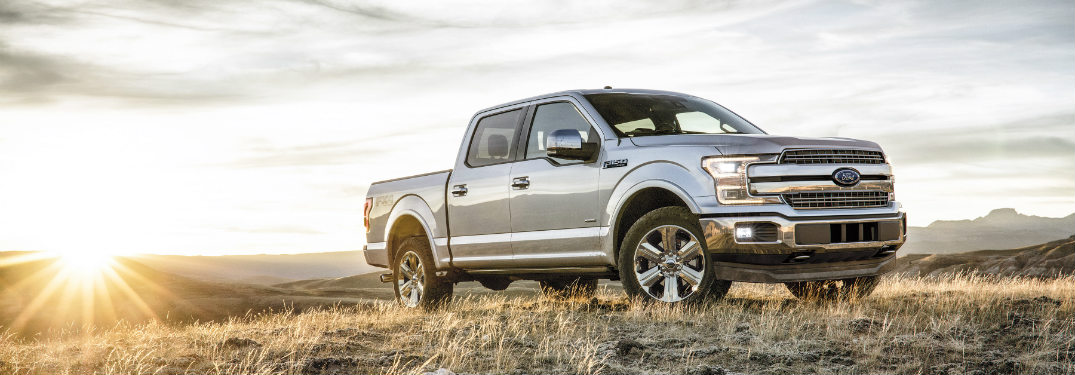 2018 Ford F-150 silver front in field