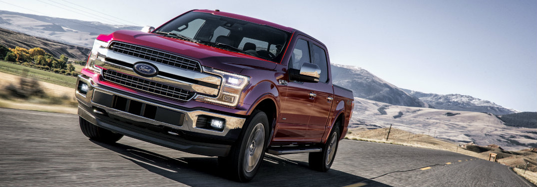 2018 Ford F-150 red front exterior view on road