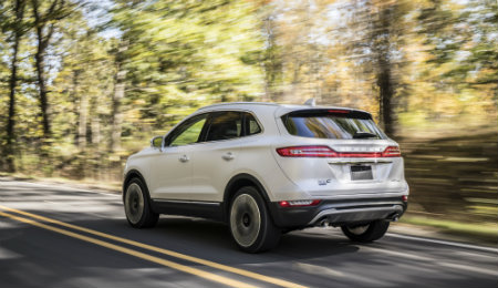 2019 Lincoln MKC white back view on road