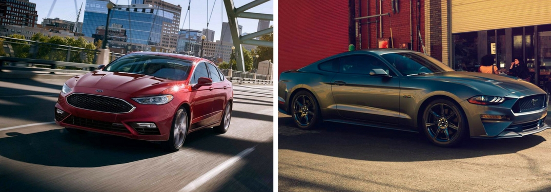 2018 Ford Fusion Sport vs 2018 Ford Mustang exterior views of both cars