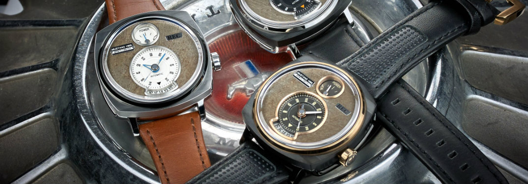 Close up of multiple Ford Mustang watches