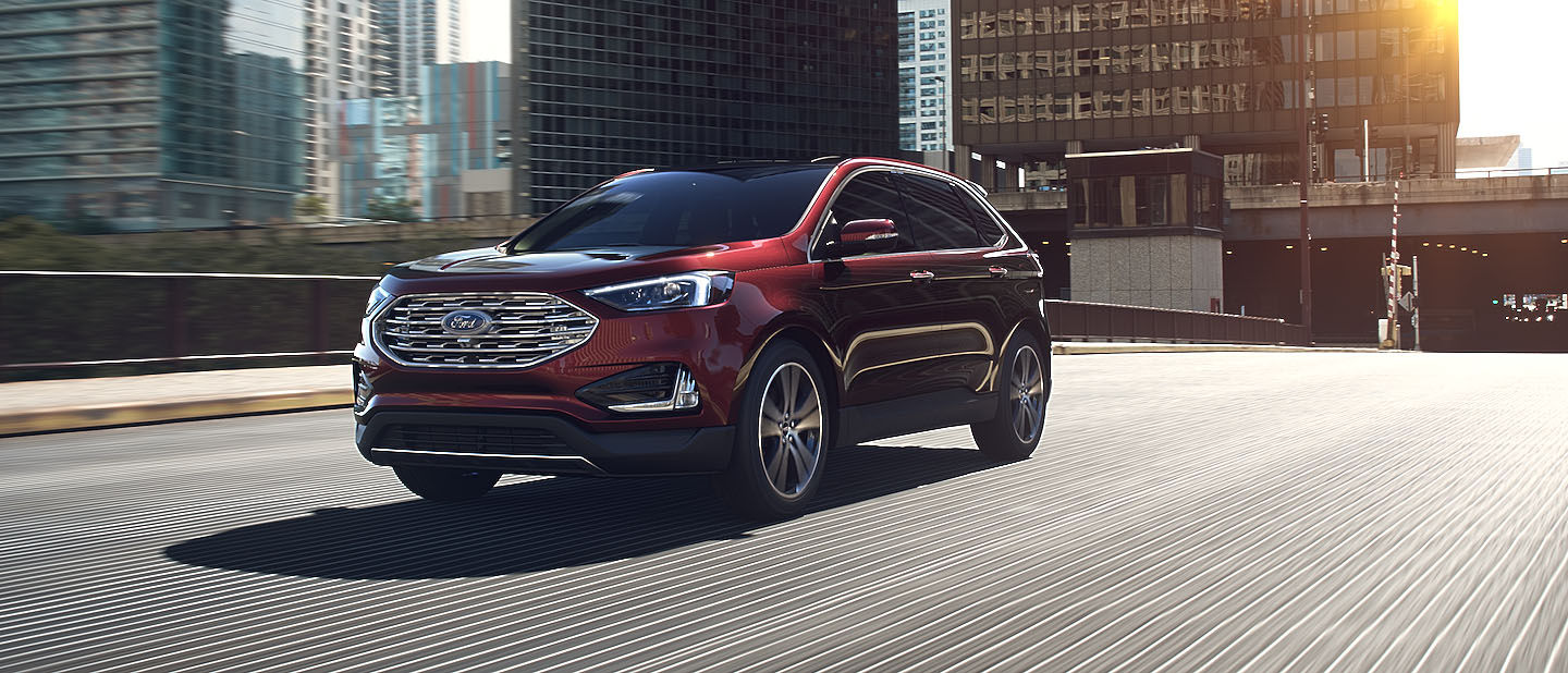 2019 Ford Edge Burgundy Velvet on road