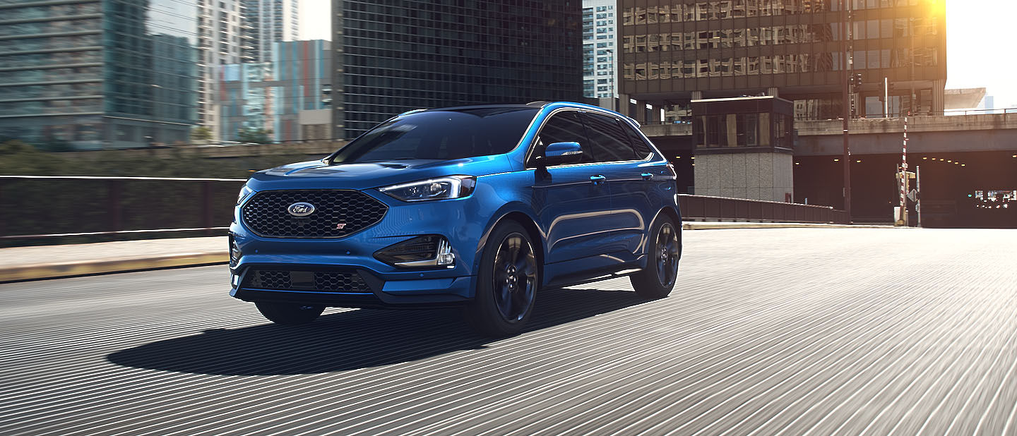 2019 Ford Edge ST Ford Performance Blue on road