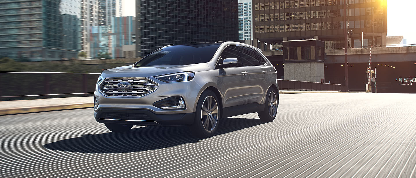 2019 Ford Edge Ingot Silver on road