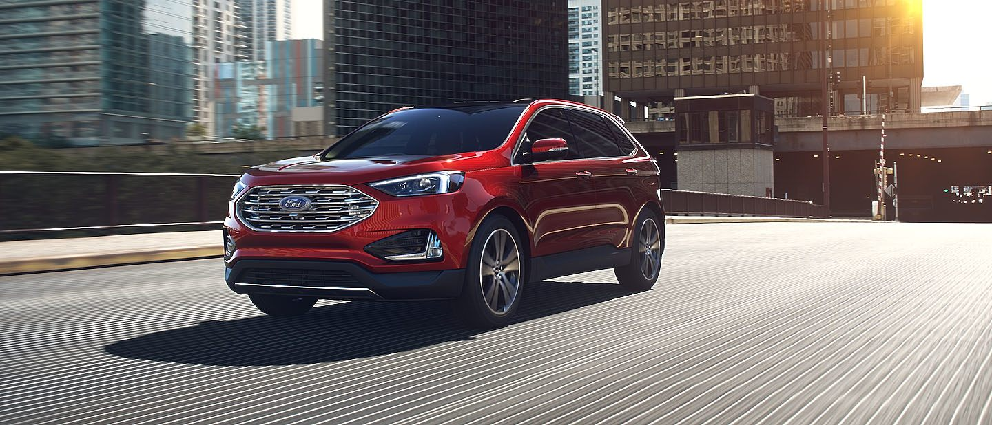 2019 Ford Edge Ruby Red on road