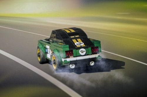 2018 Ford LEGO Speed Champions 1968 Ford Mustang driving on a tiny highway with a green background