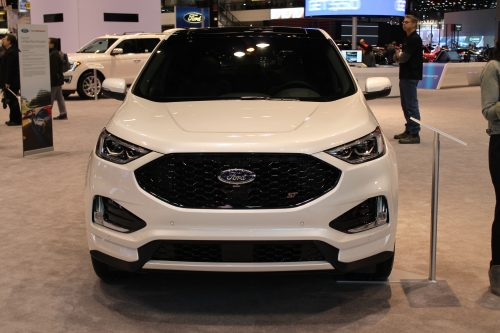 Head on front view of the 2019 Ford Edge ST at the Chicago Auto Show