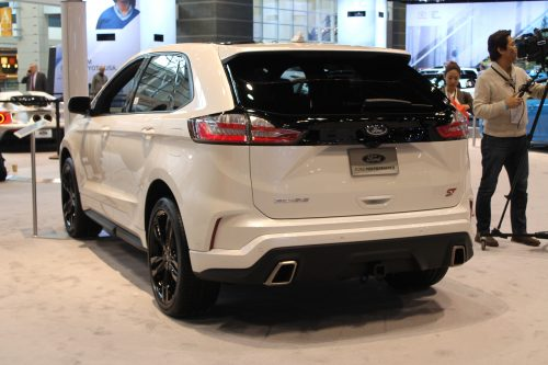 Rear profile of the 2019 Ford Edge ST at the Chicago Auto Show