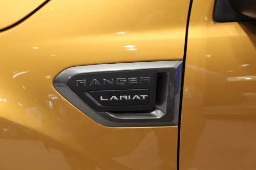 Closeup on the handle of the 2019 Ford Ranger at the Chicago Auto Show