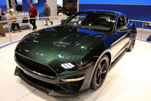Front Profile close up of the 2019 Ford Mustang Bullitt at the Chicago Auto Show