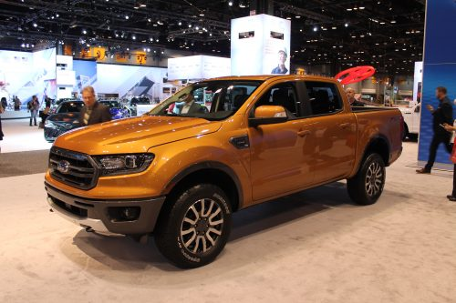 Quarter profile on the driver's side of the 2019 Ford Ranger at the Chicago Auto Show