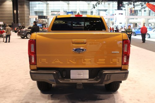 Rear tailgate of teh 2019 Ford Ranger at the Chicago Auto Show