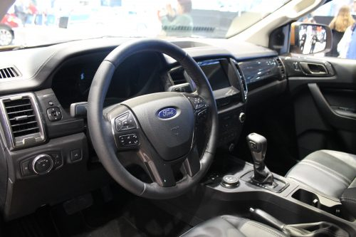 Steering wheel and interior of the 2019 Ford Ranger at the Chicago Auto Show